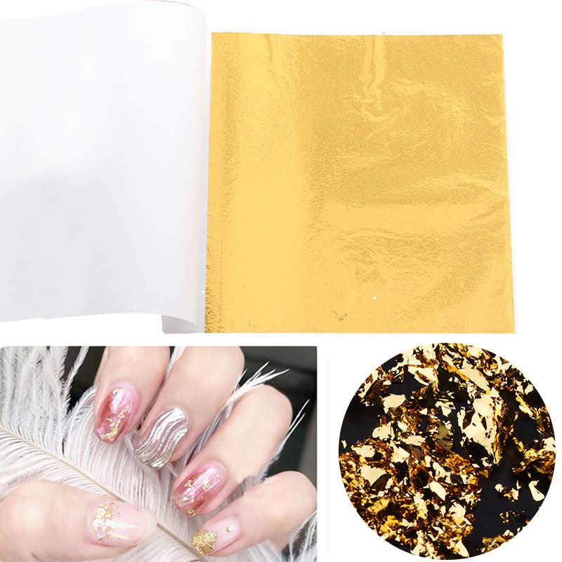 Papel de hoja de cobre y plata de Oro de imitación de 8x100 cm, papel de hoja de papel, arte de papel artístico dorado para decoración artesanal DIY 8,5 Uds.