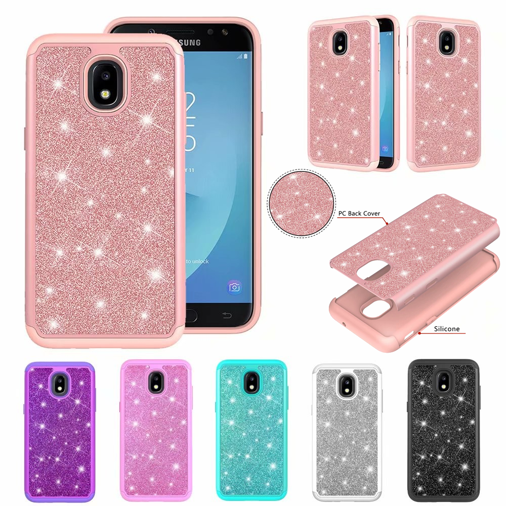 Phone Case For Samsung Galaxy J2 Core J3 J7 2018 J3 2016 2 in 1 Glitter powder anti falling case heavy protection cover image