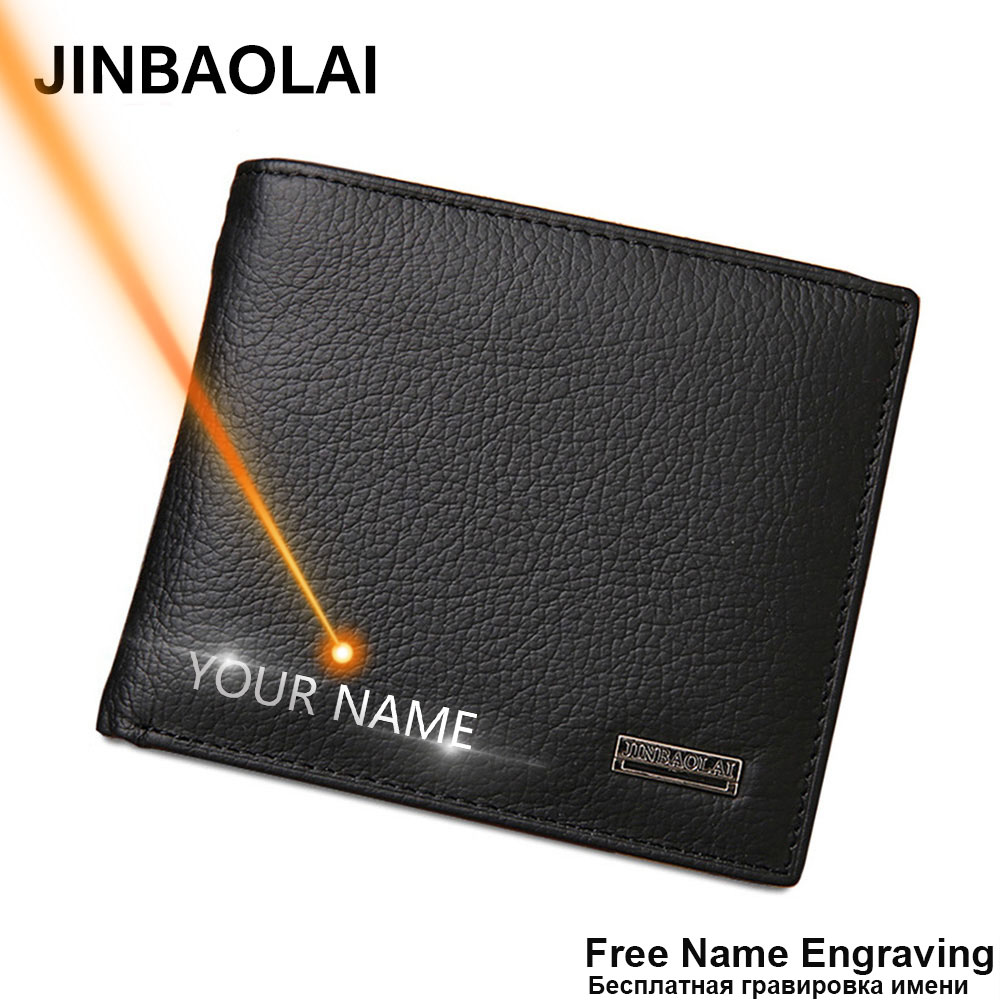 Free Name Engraving Short Genuine Leather Men Wallets Fashion Coin Pocket Card Holder Men Purse Simple Quality Male Wallets