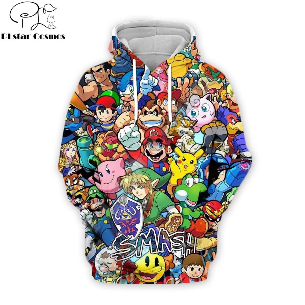 PLstar Cosmos Harajuku Vintage Fashion 3d Hoodies Cartoon Super Mario 3D Print Sweatshirt Super Smash Bros Casual Zipper Jacket