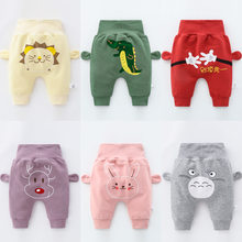 OLEKID 2021 Baby Harem Pants Cotton Cartoon High Waist Protect Belly Newborn Baby Boy Pants 0-3 Years Infant Baby Girl Trousers