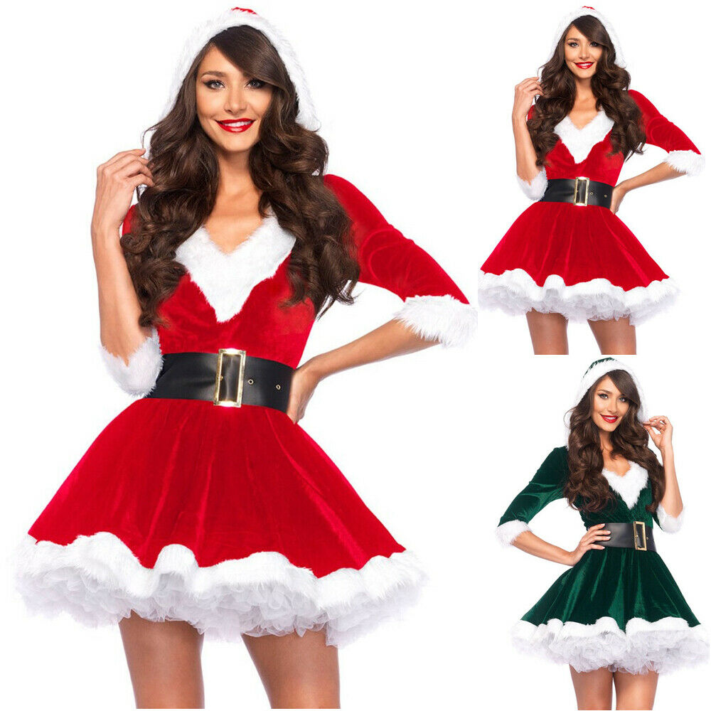 Fashion Miss Claus Dress Suit Women <font><b>Christmas</b></font> Fancy Party Dress <font><b>Sexy</b></font> Santa <font><b>Outfits</b></font> Hoodie Santa Claus Sweetie Cosplay <font><b>Costumes</b></font> image