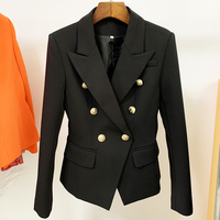 TOP QUALITY New Fashion 2021 Designer Jacket Women's Classic Double Breasted Metal Lion Buttons Blazer Outer Size S-4XL