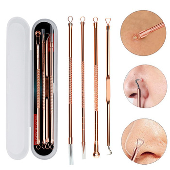 4 5 Pcs Stainless Steel Blackhead Remover Tool Kit Face Massage Whitehead Pimple Spot Comedone Acne Extractor Face Massager 1