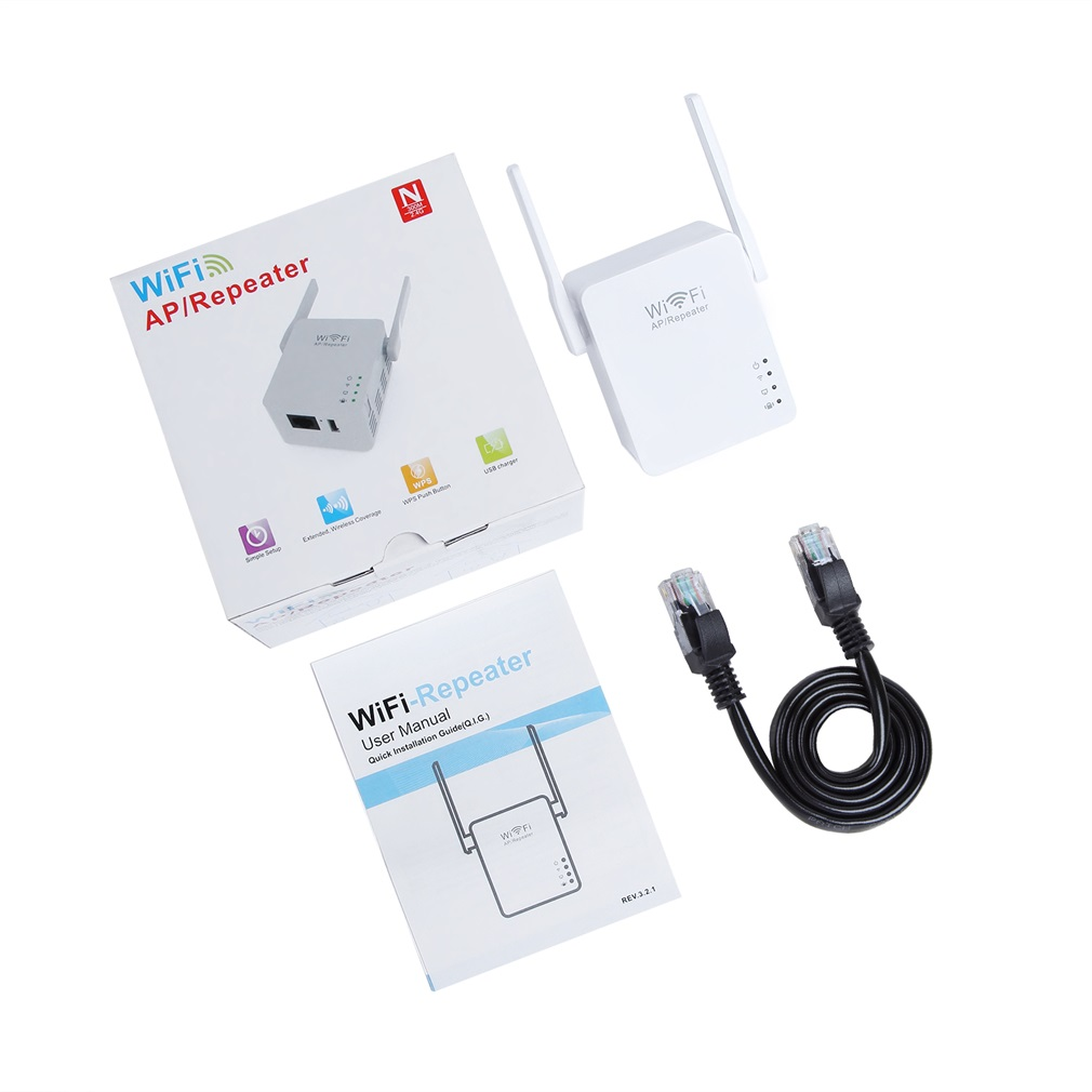 White WiFi Range Extender Wireless 300Mbps AP/Repeater Dual Antennas USB Port US EU UK Compact Mini Size Light Weight