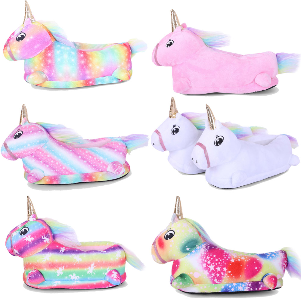 Unicorn Colorful Star and Rainbow Slippers