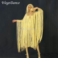 New Women Sexy Gold Long Fringe Bodysuit Singer Costume Evening Party Long Sleeve Tassel Leotard Birthday Stretch Dance Clothing