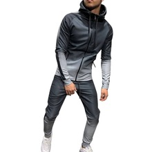 HEFLASHOR Patchwork Zipper Tracksuit Men Set Sporting 2 Pieces Sweatsuit Printed Hooded Hoodies Jacket Pant Track Suits Male