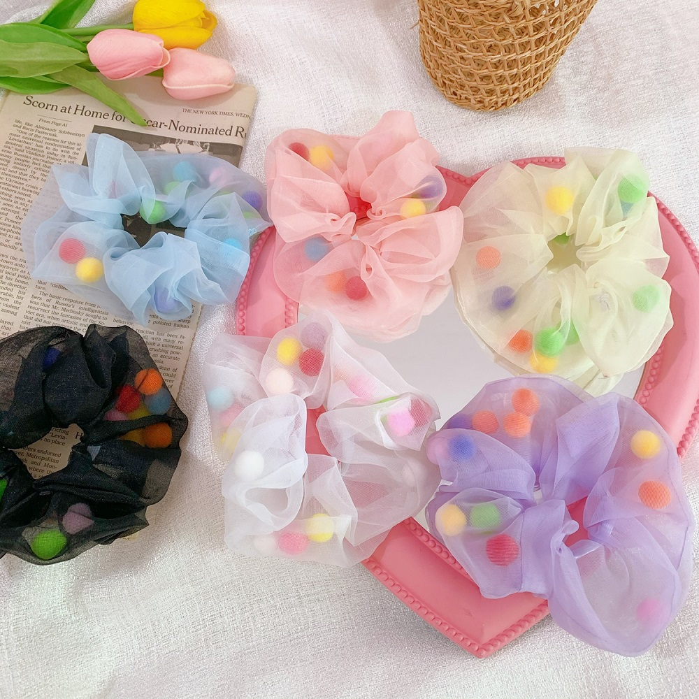 New Chiffon Elastic Hair Ring Rope Ties Scrunchies Women Girls Rubber Bands Ponytail Candy Color Hair Accessories