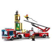 City Fire Station Bricks Brigade Turck Compatible Legoingly Building Blocks for Kids Christmas Gift
