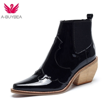 2019 Genuine Leather Brand Women Boots Pointed Toe Wedges Shoes Autumn Winter Boots Short Ladies Western Ankle Boots for Women brand women boots pointed toe flat shoes autumn winter purple blue orange boots short ladies western mid calf boots for women