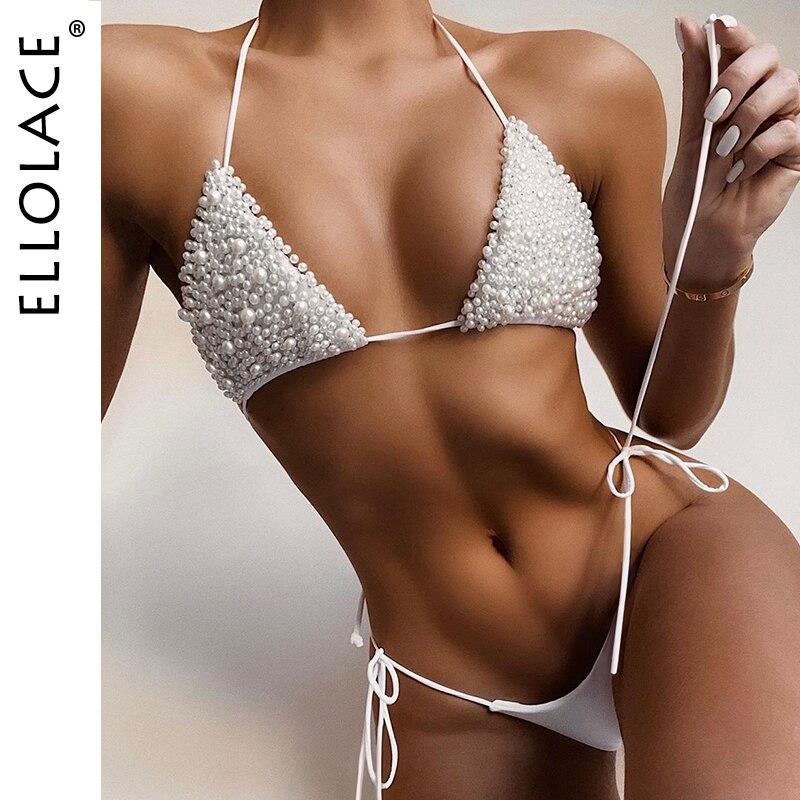 Ellolace Sexy Pearl Bikini Set Micro Bikini 2020 Fashion Women's Two-Piece Swimsuit Bathing Suit Women Separate Swimsuits