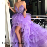 Lilac Sexy Tiered Evening Gowns Spaghetti Straps High Low Appliques Beads Formal Celebrity Dresses Robe De Soiree Evening Dress