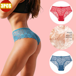 3 Pcs Women's panties sexy underwear lingerie Plus size underpanties lace underwear Women cotton panties with high waist hot
