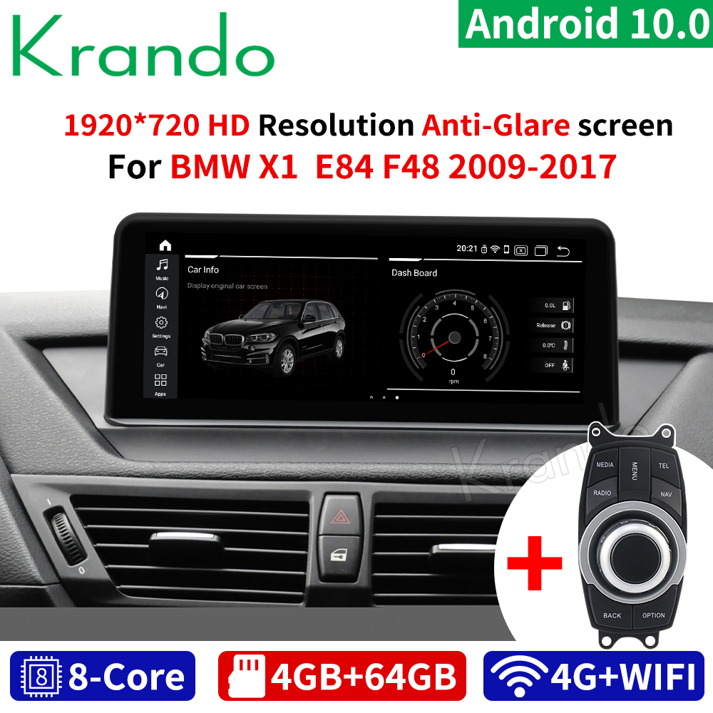 Krando android 10.0 10.25 gps gps carro dvd áudio rádio navegação gps para bmw x1 e84 2009-2015 sistema de leitor multimídia bluetooth