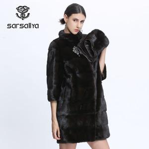 Image 1 - Véritable fourrure vison manteau femmes hiver vison manteaux femme naturel fourrure manteau véritable vison fourrure veste dames surdimensionné détachable Long noir