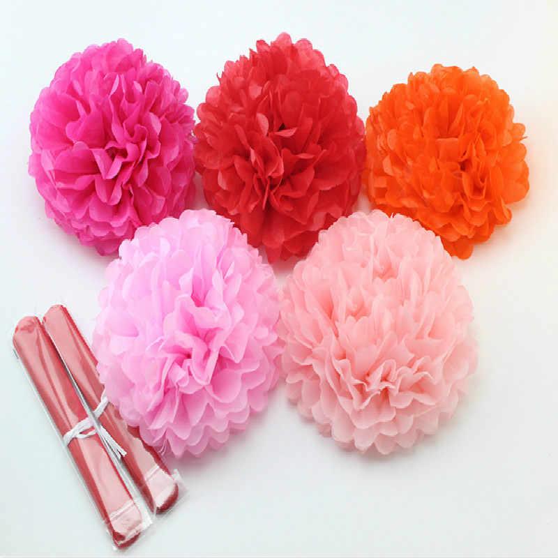 12 cm/15 cm/20 cm/25 cm/30 cm/35 cm (4-14 pulgadas) boda pompones de papel decorativo Pom Poms bolas fiesta Decoración de cumpleaños tejido