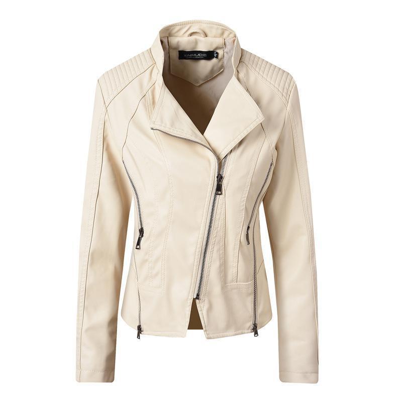 2019 New spring autumn ladies faux   leather   jacket fashion slim long sleeved zipper white biker PU coats women vintagm jakcets