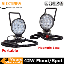 42W LED Work Light Portable Magnetic Base Flood Spot Beam Super Bright Car 4x4 ATV truck Tractor Offroad Boat