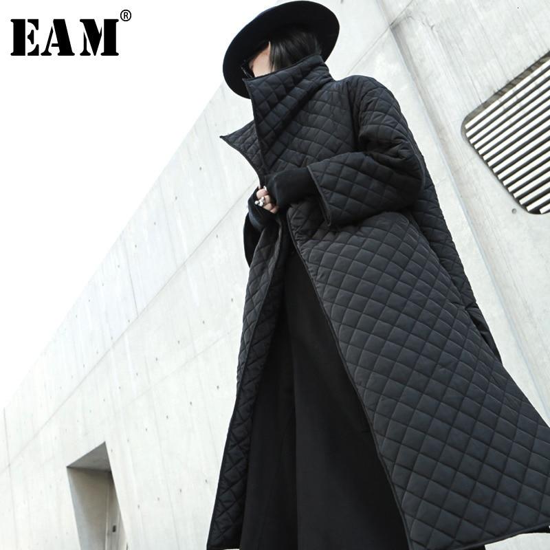 [EAM] Black Big Size Long Cotton padded Coat Long Sleeve Loose Fit Women Parkas Fashion Tide New Spring Autumn 2020 19A a319|Parkas| - AliExpress