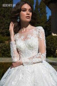Image 5 - KEENRYAN Sexy Lace Wedding Dress 2020 Long Sleeve Scoop Robe De Mariee Custom Make Chaple Train Vestido De Novia Wedding Gowns