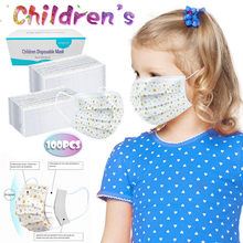 100pc Children's Face Maks Disposable 3-ply Face Maks Facemaks For Kids Face Maks Reusable Mascarillas Scarf Face-mask Ear Loop(China)