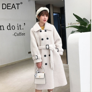 Image 1 - [DEAT] 2020 New Winter Fashion Womens Coat Lapel Belt Lamb Lambswool Woolen Nine Sleeves Thick With Belt Warm Long Length AI773