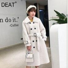 Женское пальто из овечьей шерсти [DEAT], черное пальто из овечьей шерсти с отложным воротником и поясом, с длинным рукавом, толстое, с поясом, AI773, зима 2020