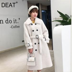 Image 1 - Женское пальто из овечьей шерсти [DEAT], черное пальто из овечьей шерсти с отложным воротником и поясом, с длинным рукавом, толстое, с поясом, AI773, зима 2020