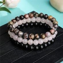 8mm Black Onyx Rhodonite Rose Quartzs Stone Beaded Bracelet Set Wrist Men Women Handmade 3Pcs/Set Mala Beads sets