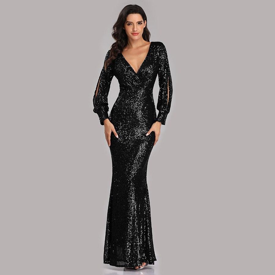 Вечернее платье, длинное, расшитое блестками, элегантное, Robe De Soiree, сексуальное, с глубоким v-образным вырезом, с разрезом, торжественное платье, полный рукав, вечернее платье LT008 - Цвет: Черный