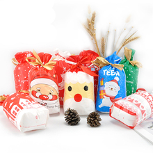 50pcs החג שמח סנטה קלאוס איילים פאון דוב עץ חג המולד מתנת שקיות אריזת שקיות שנה טובה 2019 חג המולד ממתקי שקיות