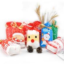 Bộ 50 Chúc Giáng Sinh Ông Già Noel Nai Sừng Tấm Rào Gấu Giáng Sinh Cây Tặng Túi Đóng Gói Túi Năm Mới Giáng Sinh 2019 túi Kẹo