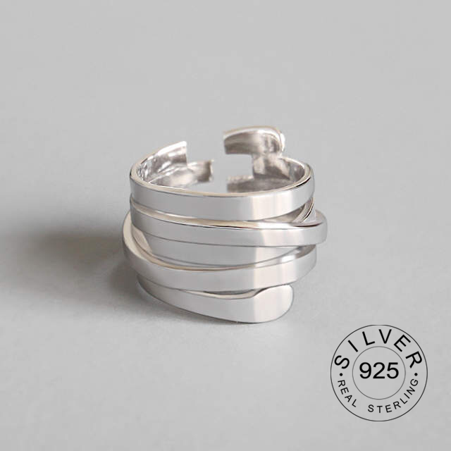 925 Sterling Silver Multi-layer Winding Rings Silver Personality Open Rings For Women 2019 New Creative Jewelry