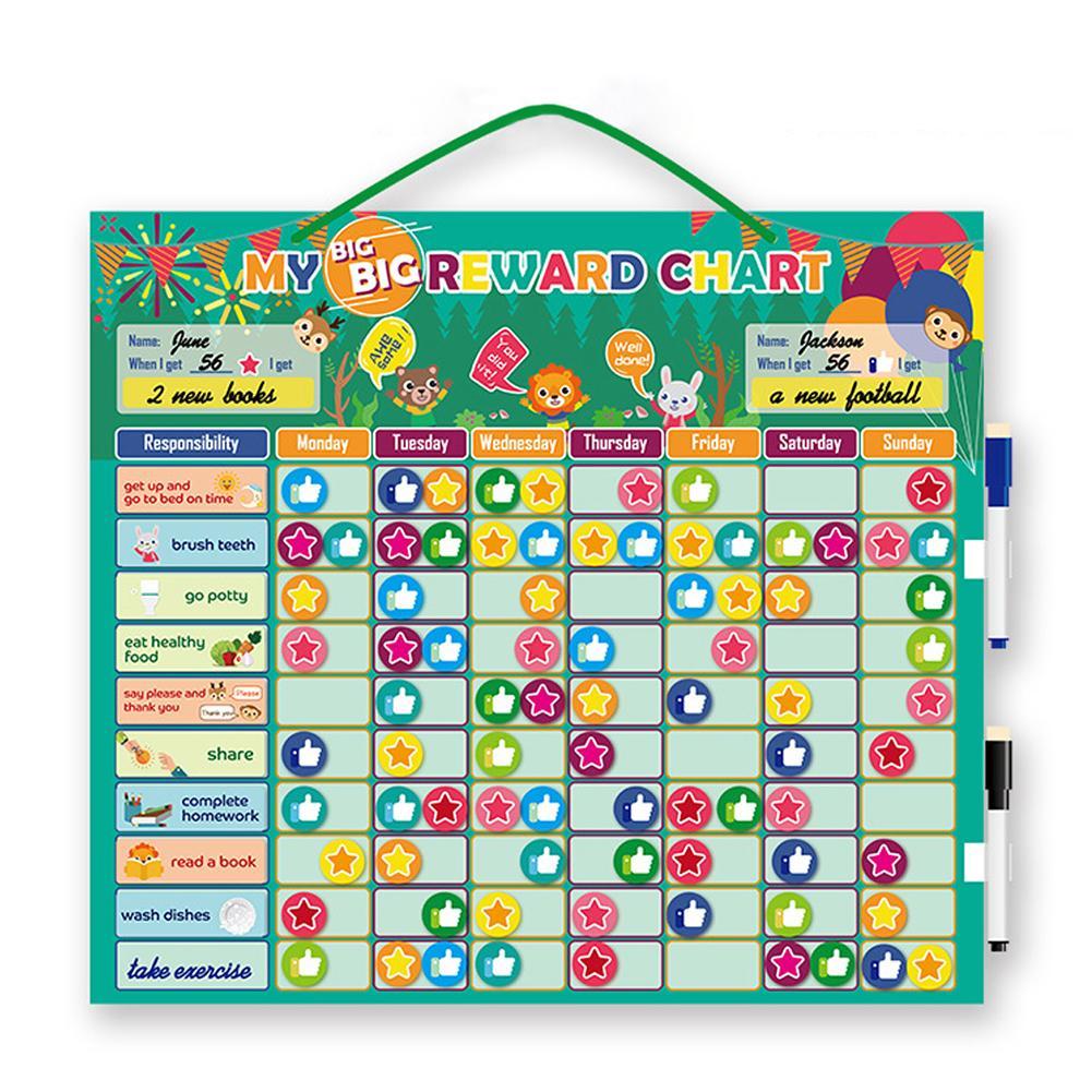 Magnetic Responsibility Chart Chore Star Reward Chart Good Behavior Development Chart Educational Toys For Toddlers Kids