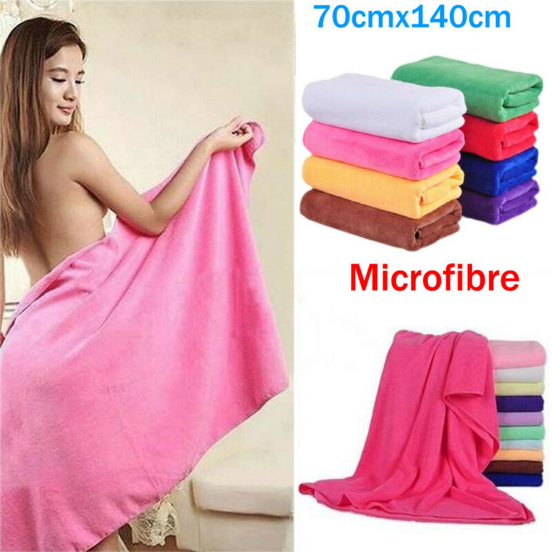 Pure Color Natural Microfiber Towel 70x140cm Absorbent Fiber Family Bath Washer Beach Swimming Towels