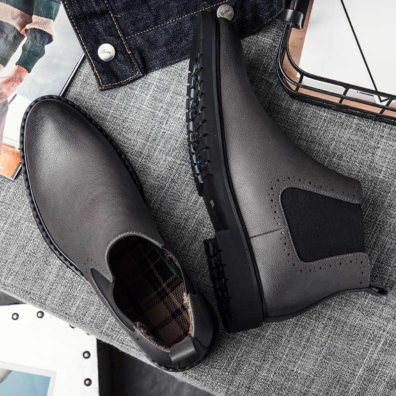 Misalwa erkek deri Chelsea çizmeler kış rahat ayak bileği savaş botları erkekler için klasik rahat elbise ayakkabı kısa çizmeler 38- 45
