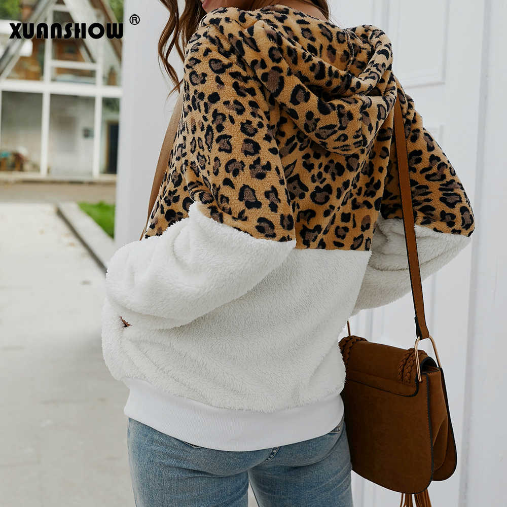 Xuanshow 2019 Baru Musim Dingin Fashion Leopard Patchwork Wanita Bulu Imitasi Mewah Berbondong-bondong Tetap Hangat Hoodie Zipper Wanita Mantel