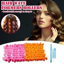 12 pces onda cabelo curlers nenhum calor cachos espiral estilo kit magia heatless modelador de cabelo rolos com ganchos de estilo