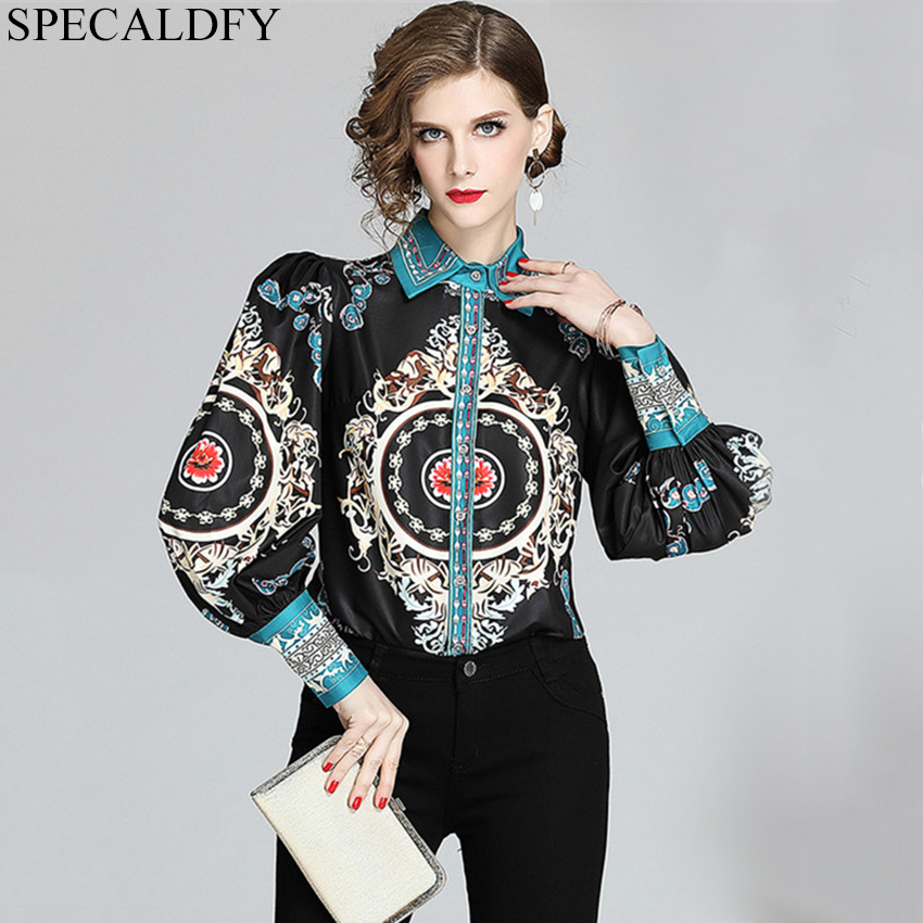 Designer Runway Shirt Womens Tops And Blouses Lantern Sleeve Elegant Office Shirts Luxury Printed Vintage Blouse Blusa Feminina