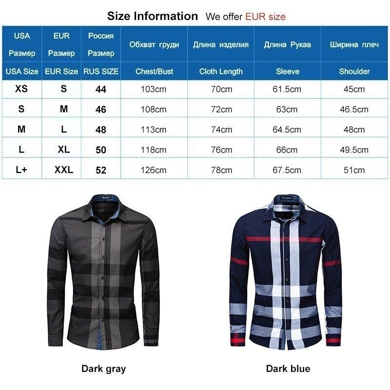 Men Shirt Long Sleeve Casual Vertical Plaid Shirts Mens Chemise Homme 2020 Long Sleeve Casual Slim Fit Shirts 100% Cotton Shirts 6