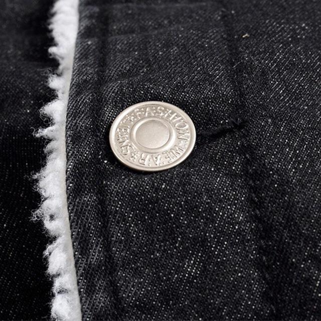 Slim Thicken Denim Jacket Fur Stand Collar Men Winter Male Fashion Korean Style Jackets Plus Velvet Leisure Woollen Coat M-5XL