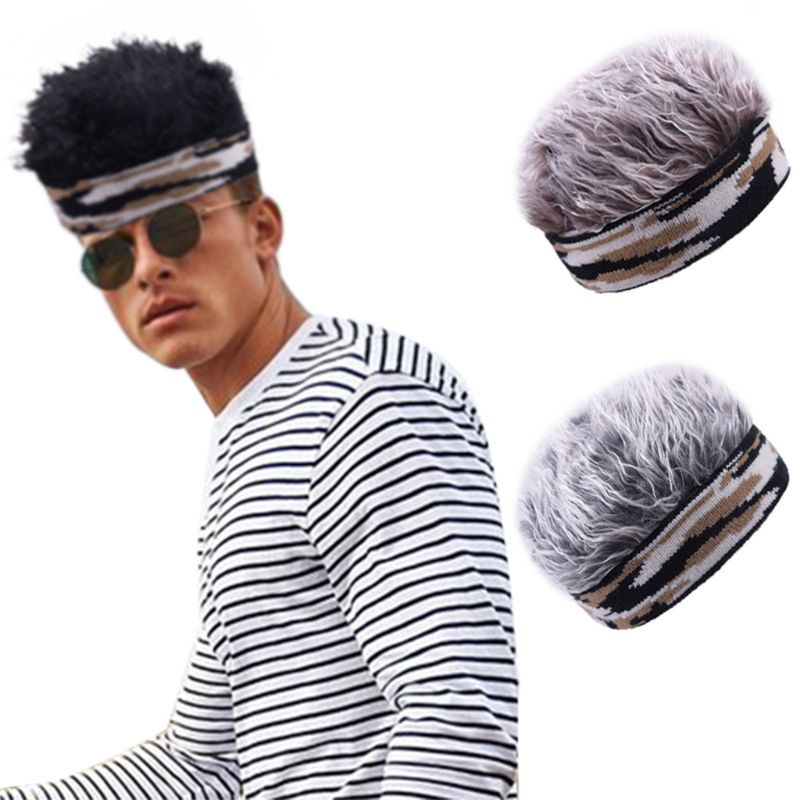 Men Women Short Wig Brimless Beanie Hat Fake Hair Funny Camouflage Knitted Landlord Sailor Cap Stretchy Cosplay Props