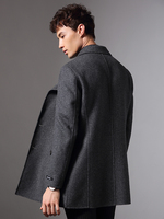 2020 Double Breasted 100% Wool Coat Men Double sided Man Jacket Spring Mens Coats Overcoat Manteau Homme KJ1574