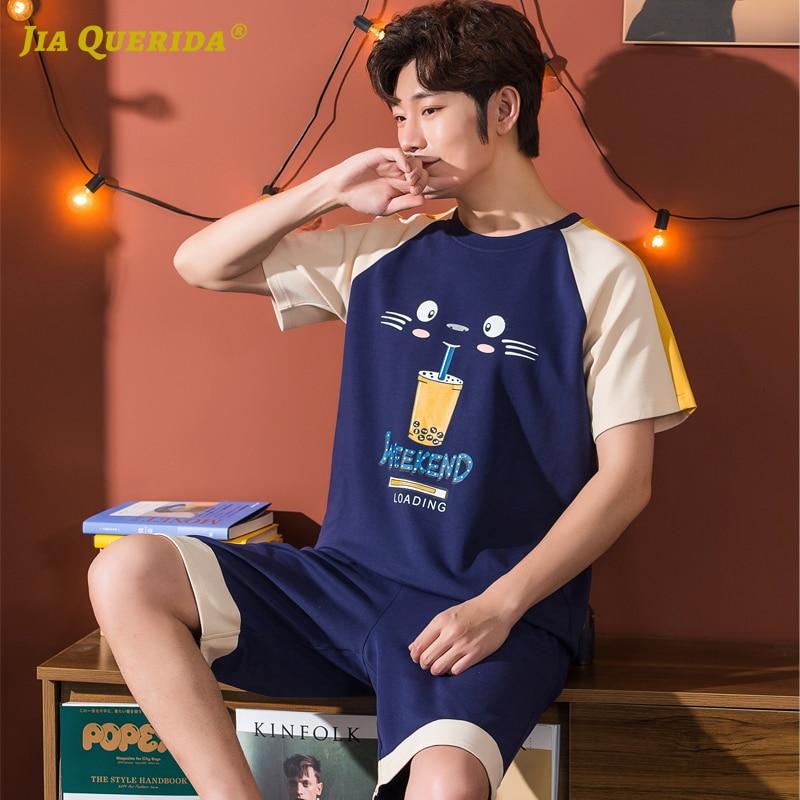Pj Set New Men Cartoon Printing Crew Neck Pajamas Set Homesuit Homeclothes Fashion Style Short Sleeve Short Pants Sleepwear