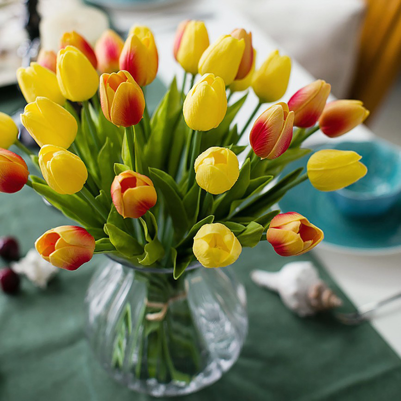 Мини-Тюльпаны из искусственной кожи, букет из искусственных цветов с реалистичным оттенком, для украшения дома и вечеринки, 10 шт.