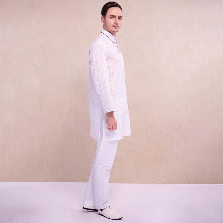 India Style Man Suits Ethnic Embroidery Sets Comfortable Cotton White Medium And Long Clothing Loose Long Sleeves Thin Sets