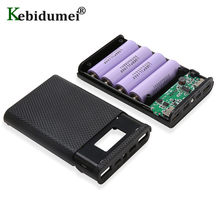 Kebidumei capa 4x18650 diy, power bank, bateria carregadora, 5v, dual usb tipo-c, android, micro interface usb para telefones inteligentes