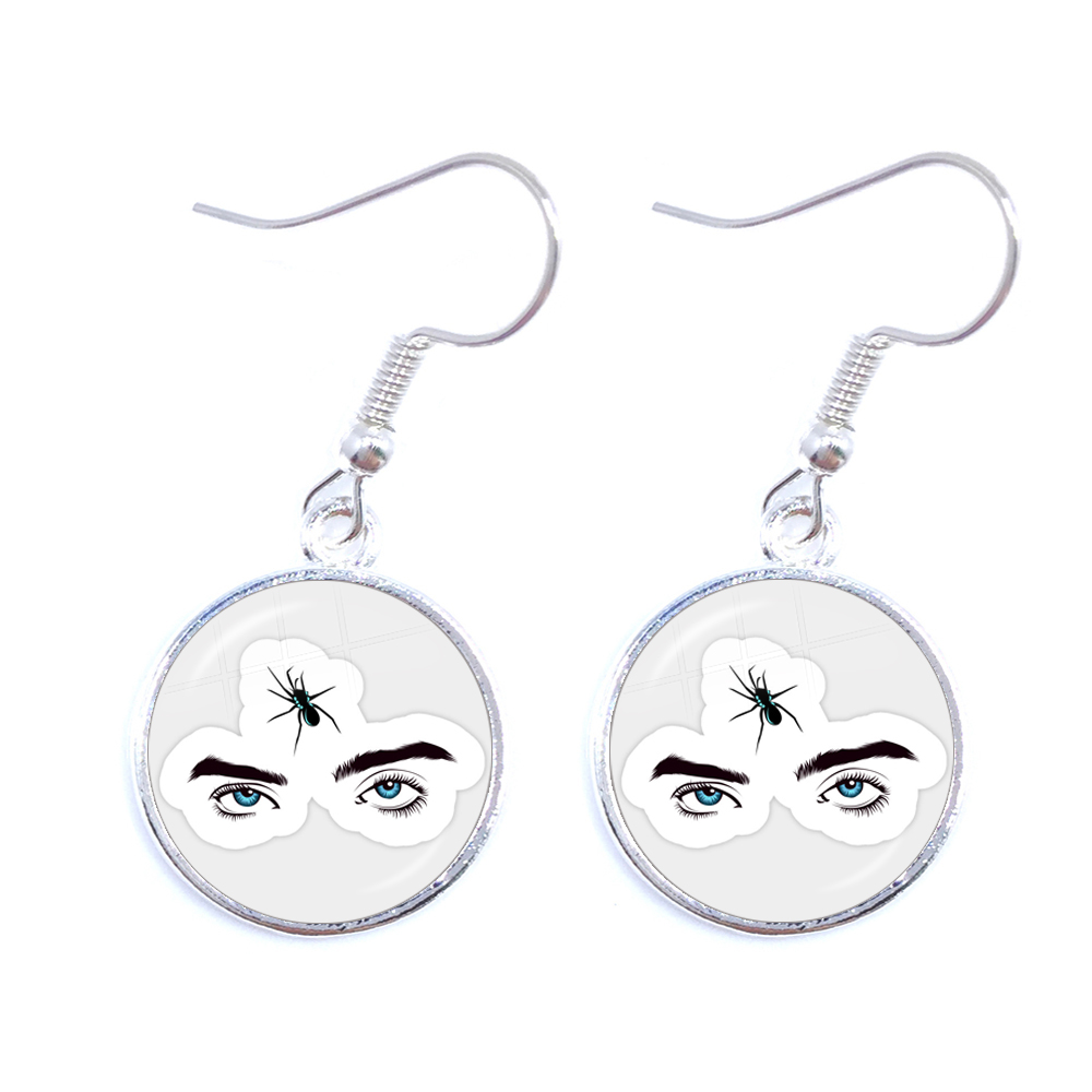 Billie Eilish And Spider LOGO Earrings Hip Hop Icon Young Singer Glass Cabochon Drop Earrings Jewelry For Women Girls Fans Gift