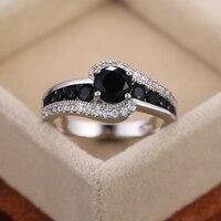 Huitan especial interés negro mujeres de piedra anillo de boda deslumbrante de circón de cristal de regalo delicado de calidad superior mujer clásica de la joyería